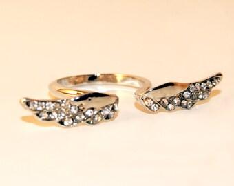 The Hollis diamond studded angel wing ring