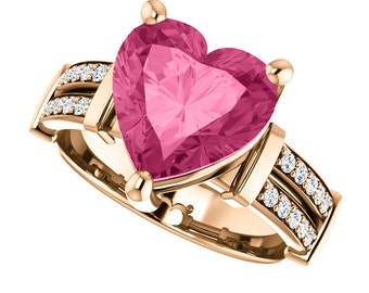 14kt Rose Gold Pink Tourmaline & Diamond Engagement Ring, Set with a 10x10mm (3.16 Carat) Heart Cut Lab Created Pink Tourmaline Gemstone