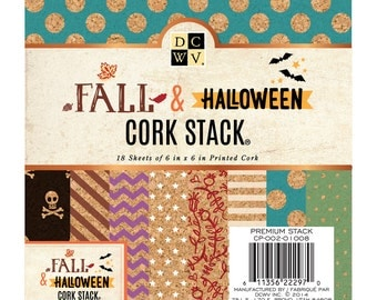 FALL AND HALLOWEEN Cork Stack Cardstock 6x6 Inch Pages