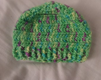 Green Crochet Baby Hat, Baby Accessories, Baby shower Gifts Preemie to 3 months