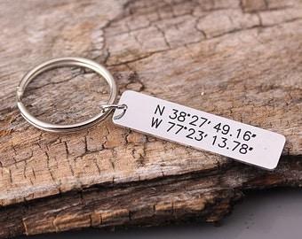 GPS Coordinate keychain - Personalized Latitude Longitude Key Chain - Anniversary, Wedding, Valentines, Groomsmen Gfit