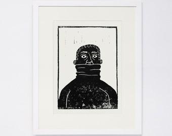PULLOVERMAN, Linocut Print