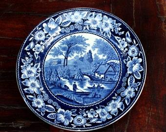 "Vintage Societe Ceramique Maestricht Blue Wilderose Plate, Made in Holland.9""D"