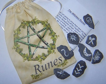 Witches Runes, Set of 8 with Pentacle Rune Bag. Divination, Scrying Wiccan, Pagan.
