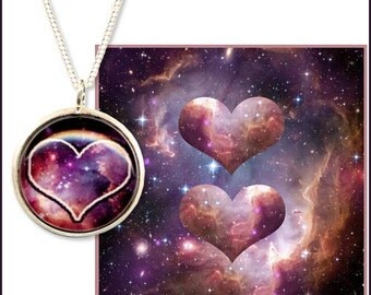 Space Valentines pendant on sterling silver chain with quality photo greetings card