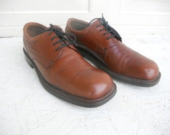 Vintage Men's Brown Ecco Leather Lace Up Casual Shoes 11-11 1/2 FREE SHIPPING