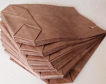 25 paper bags Brown 14x20cm cross bottom bags