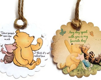 Gift Tags - Classic Winnie The Pooh, Favor Tags,Thank You Tags,Birthday Party Decoration,Party Bag Tags,Baby Shower Favor Tags,Pooh Tags