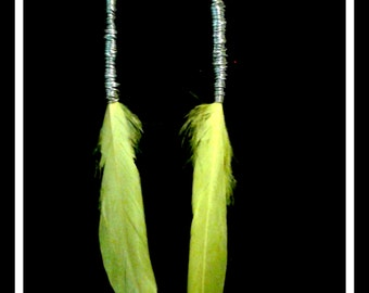 WIre Wrapped Yellow Feather Long Dangle Earrings