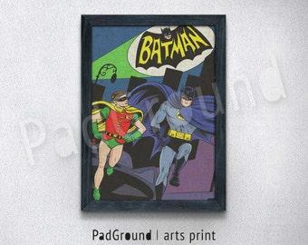 Batman Prints, Batman and Robin, DC Comics, Home Decor, Wall Decor, Boys Wall Art, Gift For Him, Burlap Print, Linen Print with Frame -BM55