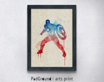 Captain America Art Print, Superhero Watercolor Art, Illustration, Avenger Poster, Home Decor, Wall Art Print with Frame for Kids Room -SP60