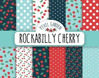 Rockabilly Cherry Digital Paper Pack, Retro Cherry Scrapbooking Paper, Digital Clip Art, Printable Paper, Printable Card.