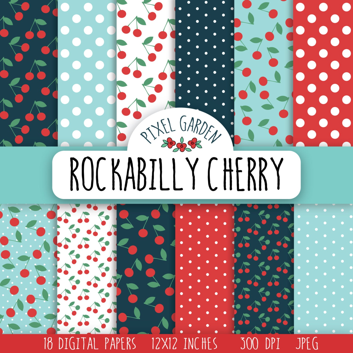 Rockabilly Cherry Digital Paper Pack Retro Cherry