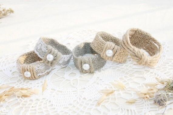 Burlap Wedding Napkin Rings Rustic Wedding Decor by ...