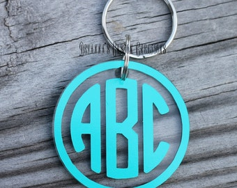 Circle Monogram Key Chain with a Boarder