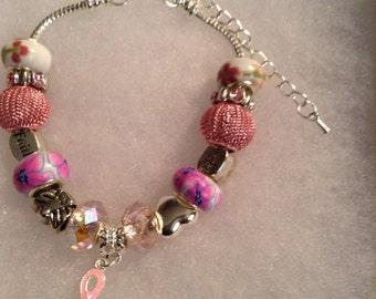 Charm Bracelet Breast Cancer Awareness