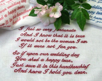 Wedding Handkerchief, Embroidered Bridal Hanky from the Bride to her Mother, White Cotton, Lace Edged Hanky for Weddings.