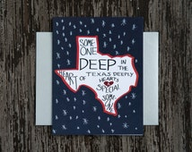 Funny greeting card. Someone deep in the heart of Texas card. Funny love card. Texas anniversary card. Texas card. Valentine card. TX card.