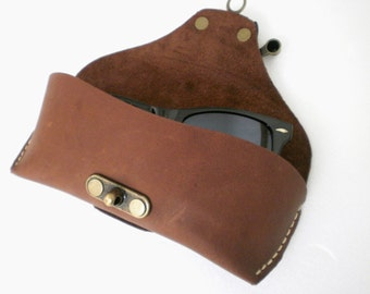 Glasses case for Wayfarers Clubmasters Sunglasses case Oil tan Leather Cocoa brown  Handcrafted by Celyfos ®