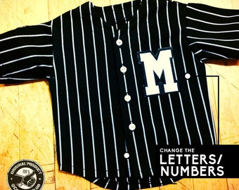 Custom Toddler Pinstripe Baseball Jersey with Custom Front Letter/Number, Back Name & Back Number