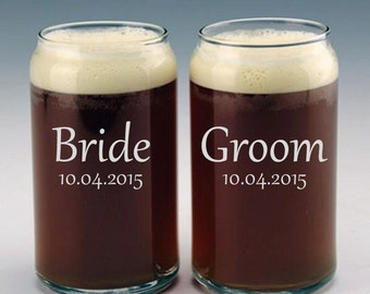 Personalized Bride and Groom Beer Can Glasses / Custom Etched Wedding Gift / Engraved Beer Glasses / 48 DESIGNS! / Set of 2 Glasses