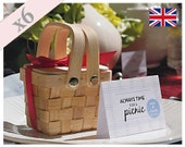 Miniature Picnic Basket Wedding Table Favour Gift – Pack Of 6
