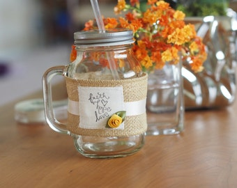 HOPE FAITH LOVE Burlap Covers for Mason Jars and Mugs