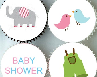 Edible Rice Paper Cupcake Toppers - Baby Shower Cake Decoration - CT113
