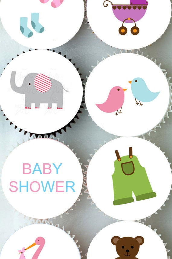 Baby Shower Cake Decorations Edible : Edible Rice Paper Cupcake Toppers Baby Shower Cake