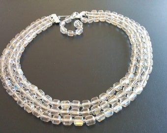Signed Japan Vintage Statement Necklace Clear Faceted Glass Beads Multi-Strand 498