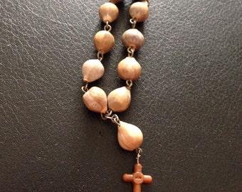 Vintage Rosary Prayer Cord Bracelet Beaded Religious Cross Kid Infant Brown 515