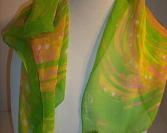 "Vintage Burmel Signed Scarf Sheer Neon Green Pink Small 22"" Squsre Silk Japan 642"