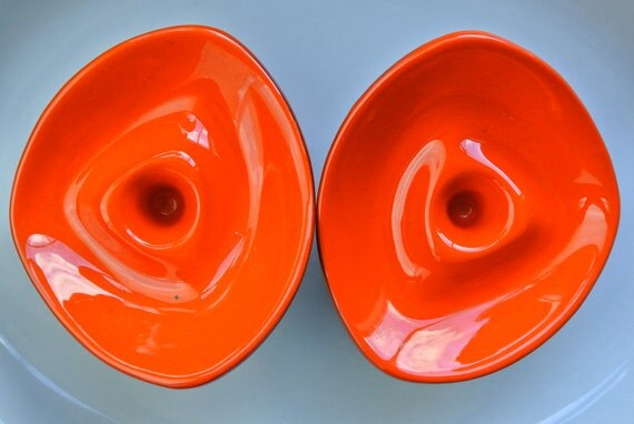 Vintage Atomic Canadian Candle Holders Pair 1960 S