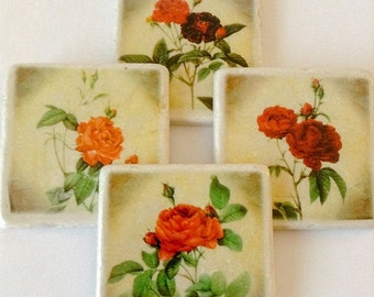 Red Rose Coasters - Flower Coasters - Garden - Natural Stone - Home Decor - Great Housewarming Gift - Set of 4