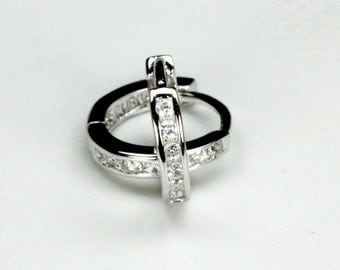 Baby Huggies Clear Topaz 10mm .925 Sterling Silver Top Quality