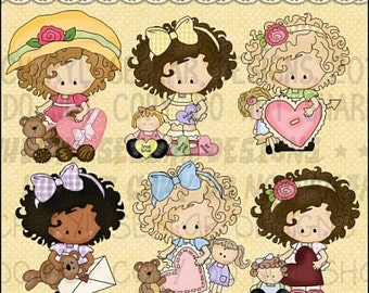 Little Lucy be my valentine Digital Clipart - Clip art for scrapbooking, party invitations - Instant Download Clipart Commercial Use