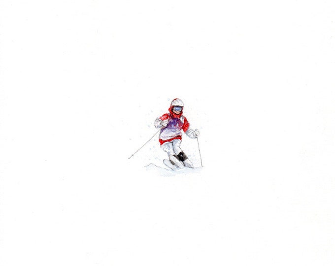 Print of Miniature painting of a Skiier, tiny painting skiing art 5 x 5