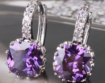 Purple sapphire real white gold filled lady leverback earrings