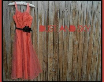 Free Shipping, 1940's Prom Dress, Salmon Pink, Flocked Netting, Full Length, Black Belt