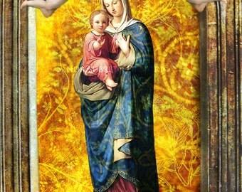 "Virgin Mary, Blessed Mother with Jesus, Catholic Art, Religious Art, 8x10"" Print by Sandra Lubreto Dettori"