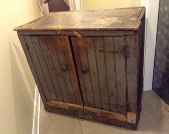 Antique Pine Cupboard Two Shelves Two Doors Rustic Country Primitive