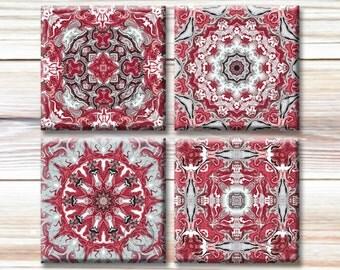 Set of 4 Printable Images - DIY coasters, maroon mandala, traditional images, Alabama Crimson Tide, mandala art
