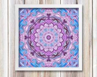 Mandala Art, Printable Wall Decor, 7.5 inch Meditation Art, Instant Download, Lavender Blue Mandala Print Image New Age Art