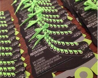 Custom Personalized Die Cut Roller Skate Birthday Invitation