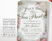 Birthday Tea Party Invitation Template - Vintage Rose Tea Party Theme Birthday Invitation Printable DIY Country Invitation Editable Invite