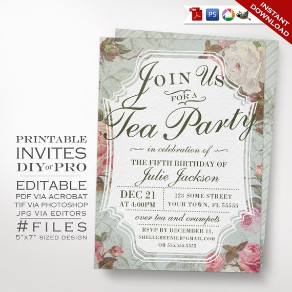 birthday tea party invitation template vintage rose tea. Black Bedroom Furniture Sets. Home Design Ideas