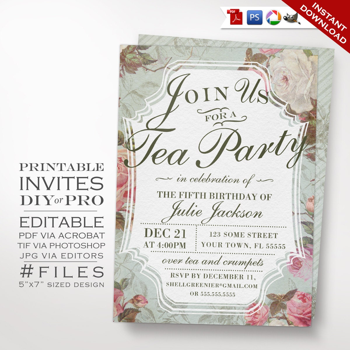 Birthday Tea Party Invitation Template Vintage Rose Tea – Tea Party Invitations Free Template