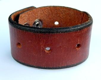 Men's distressed Leather Cuff belt bracelet