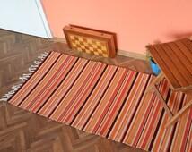 Handwoven wool rug, striped handwoven wool rug, handwoven rug