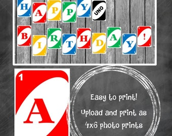 UNO Birthday Banner - UNO 1st Birthday - DIY Printable Files - Instant Download
